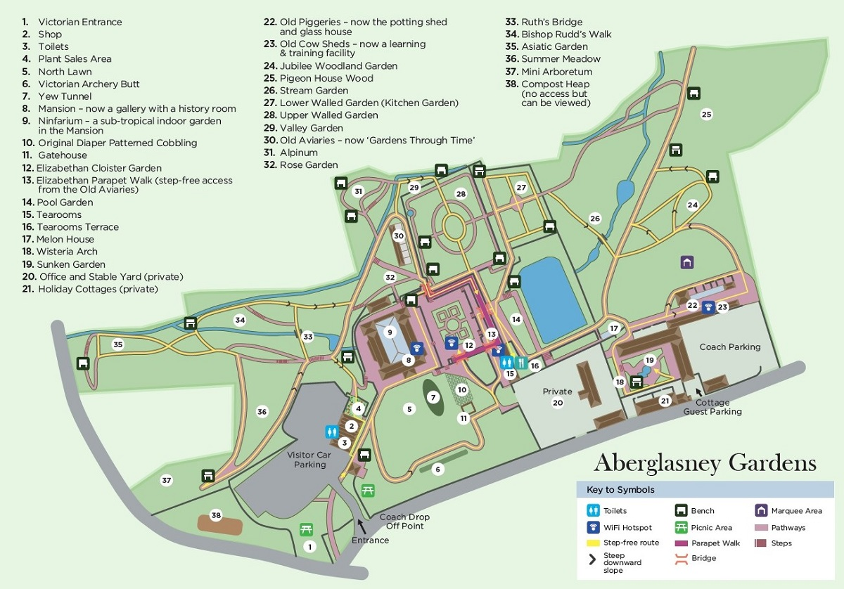 House Garden Map >> Visitor Map And Wi Fi Aberglasney In Carmarthenshire Wales